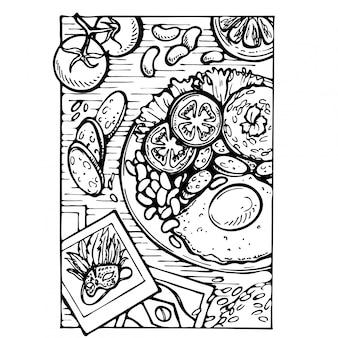 Übergeben sie gezogenes traditionelles lebensmittel von brasilien, von reis, von eiern, von tomate und von bohnen. skizzieren sie draufsicht eines tellers und der postkarte mit brasilianischer maske.