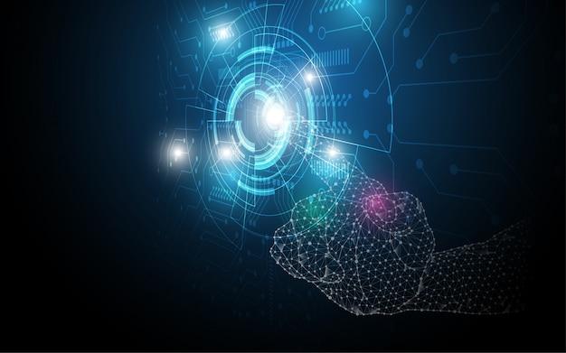 Übergeben sie notenauswahl, berühren sie das zukünftige abstrakte technologieinnovationskonzept