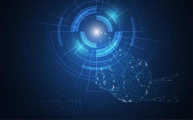 Übergeben sie notenauswahl, berühren sie den zukünftigen abstrakten technologieinnovations-konzepthintergrund