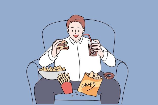 Übergewicht und ungesundes ernährungskonzept