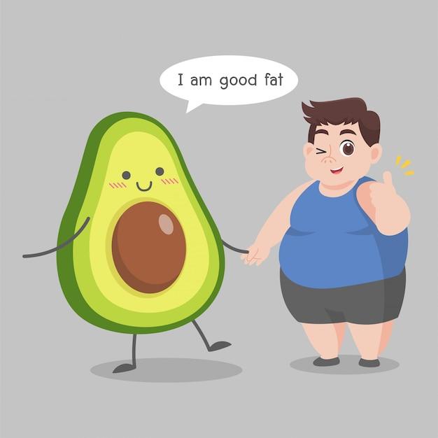Übergewichtig mann liebe avocado illustration
