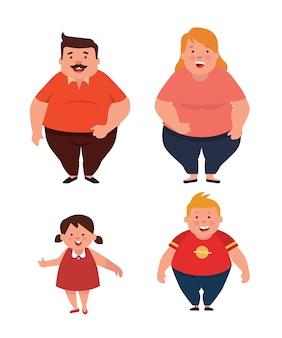 Übergewichtige familie