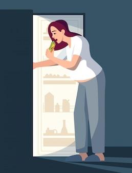 Übergewichtige frau, die nachts halbflache rgb-farbillustration isst