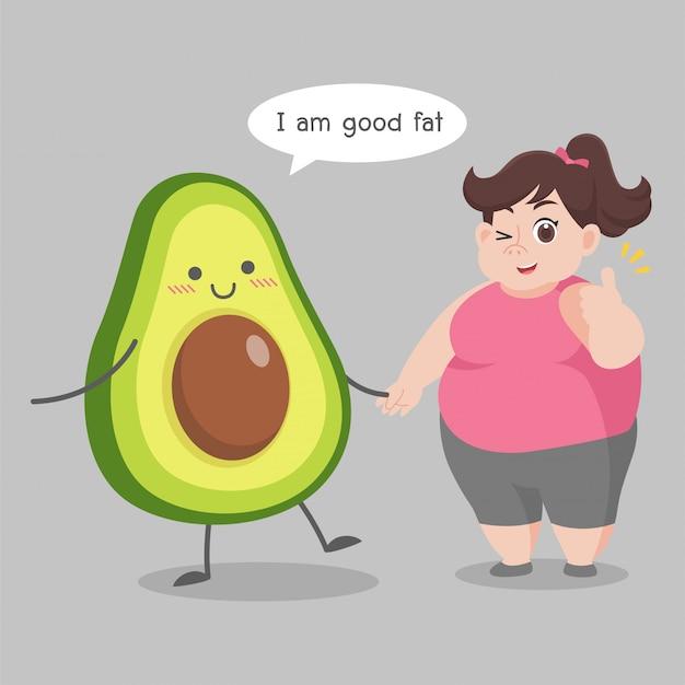 Übergewichtige frau liebe avocado illustration