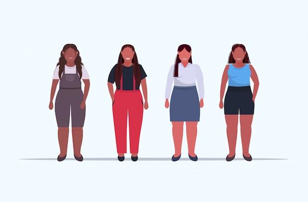Übergewichtige frauengruppe, die zusammen ungesunde lebensstilkonzeptmädchen in der freizeitkleidung übergroße weibliche zeichentrickfiguren in voller länge flach horizontal stehen