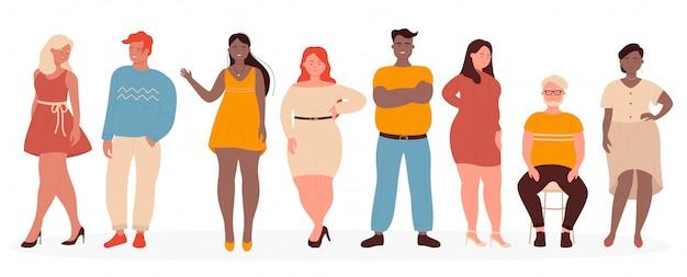 Übergewichtige illustration. karikatur flacher mann frau modellfiguren tragen freizeitkleidung stehend in reihe, plus größe kerl und mädchen lächelnd, niedliche körper positive personen auf weiß eingestellt