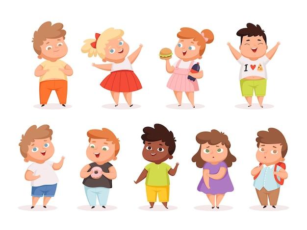 Übergewichtige kinder. fette kinder, die verschiedene junk-food-oversize-leute in freizeitkleidung essen, übertragen verschiedene charaktere