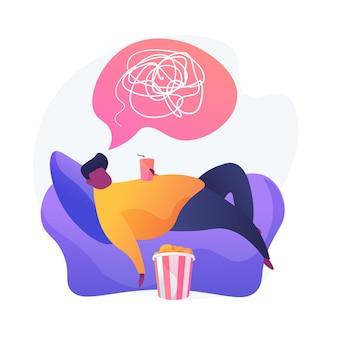 Übergewichtige mannkarikaturfigur, die auf sessel liegt und soda trinkt. körperliche inaktivität, passiver lebensstil, schlechte angewohnheit. bewegungsmangel.