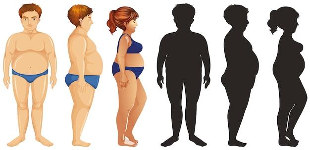 Übergewichtige menschen und ihre silhouette