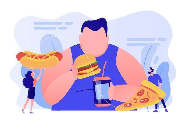 Übergewichtiger mann, der burger isst, winzige leute, die fast food geben. überessende sucht, essstörung, zwanghaftes überessen-behandlungskonzept. isolierte illustration des rosa korallenblauvektors