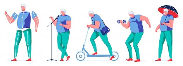 Übergewichtiger mann verbringt zeit mit aktivitäten.