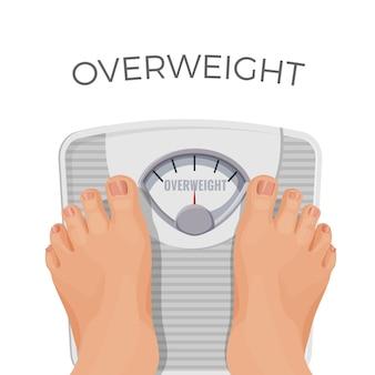 Übergewichtiger mensch mit fetten füßen auf schuppen lokalisiert auf weiß. person mit übergewicht stehend auf waage der schweren frau