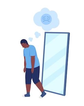 Übergewichtiger teenager junge halb flach farbe vektor-zeichen. gehende figur. ganzkörperperson auf weiß. teen probleme isoliert moderne cartoon-stil illustration für grafikdesign und animation