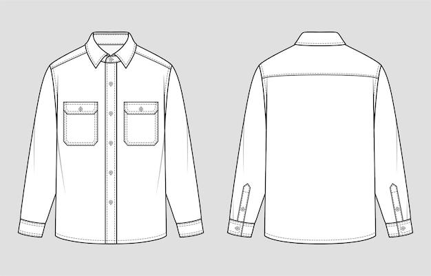 Überhemd. entspannte passform. vektor-illustration. flache technische zeichnung. modellvorlage.