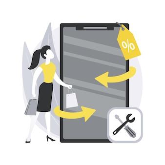 Überholtes gerät. überholtes mobiltelefon, zertifizierte restaurierte produkte, angebot für reparierte elektronik, gebrauchtes gerät, umweltfreundliches gerät kaufen.