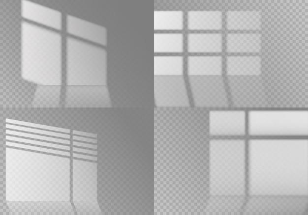 Überlagern sie fensterschatten auf transparentem hintergrund