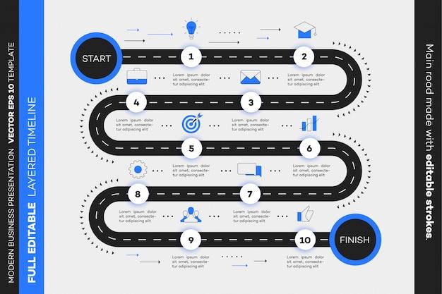 Überlagerte infografik timeline.