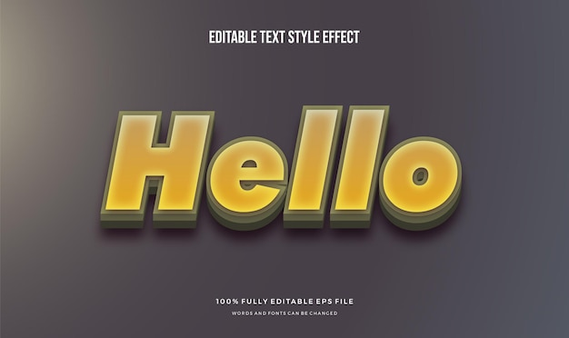 Überlagerter schatten mit modernem bearbeitbaren texteffekt und gelber farbe.
