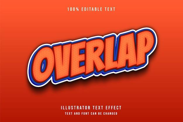 Überlappen sie den bearbeitbaren texteffekt des modernen orangefarbenen abstufungs-blauen textstils 3d