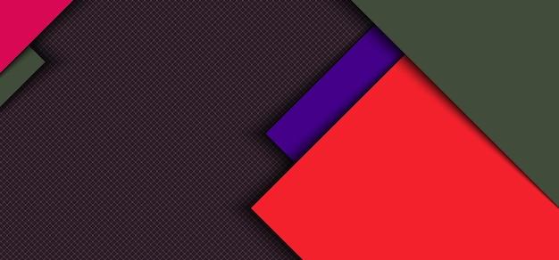 Überlappende schicht des roten, blauen quadrats mit streifen mit schatten auf gitterhintergrund.
