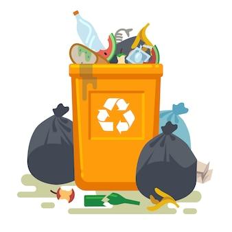 Überlaufender mülleimer. lebensmittelmüll im abfallbehälter mit unangenehmem geruch. isoliertes konzept der müllkippe und des müllrecyclingvektors