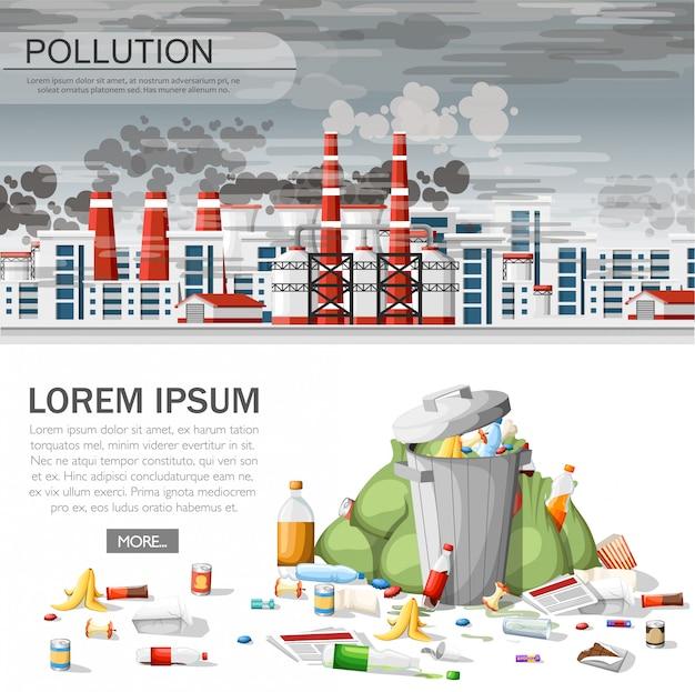 Überlaufender mülleimer. ökologieproblem, verschmutzte luft, umweltschäden. öko-konzept für website oder werbung. illustration auf weißem hintergrund