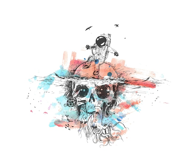 Überlebens-astronaut sitzt auf unterwasser-schädel-plakat-design-vektor illustration