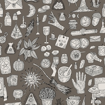 Übernatürliche magische sammlung magischer elemente. hexensachen, vintage retro-gravurstil,