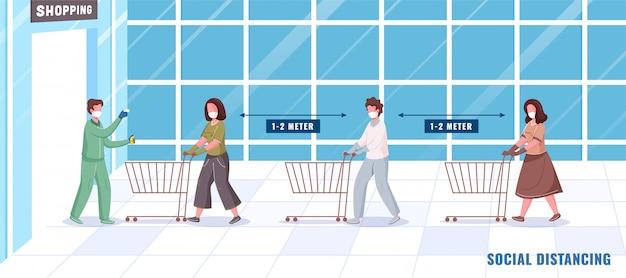 Überprüfen der körpertemperatur vor dem einkauf und desinfizieren von personen, die soziale distanz in der warteschlange mit dem wagen aufrechterhalten.