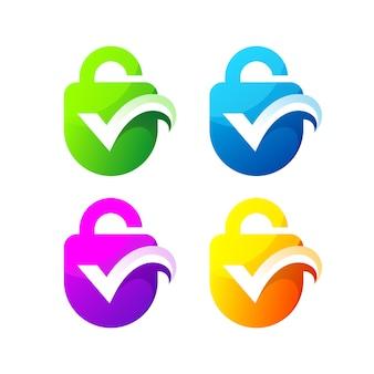 Überprüfen sie das design der schloss-sicherheitsgradienten-logo-set-vorlage