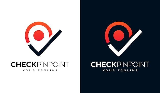 Überprüfen sie das kreative design des pin-point-logos