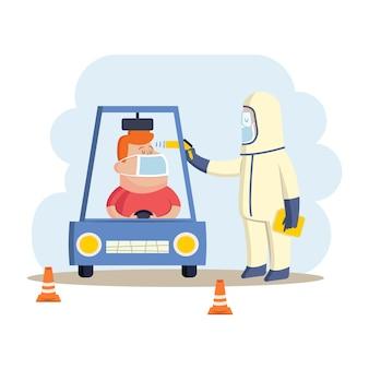 Überprüfen sie den körpertemperaturfahrer und die person im schutzanzug