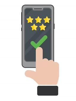 Überprüfen sie die bewertungsblasenreden auf dem mobiltelefon. feedback-konzept mit der hand. wählen sie die qualität mit einem finger-review aus oder bewerten sie die bereitgestellte helpdesk-unterstützung.