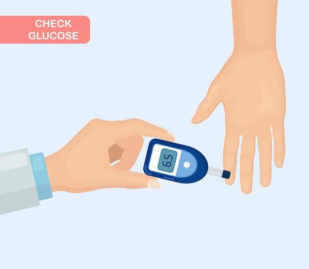 Überprüfen sie die glukose mit einem glukometer. bluttest
