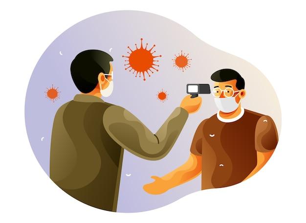 Überprüfen sie die körpertemperatur, um gegen coronavirus zu kämpfen
