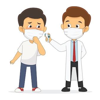 Überprüfen sie die körpertemperatur, um uns zu schützen