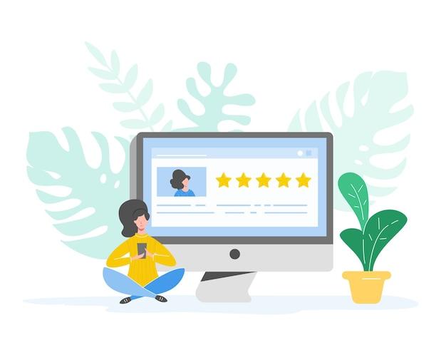 Überprüfen sie die konzeptillustration. frauenfigur, die gutes feedback mit goldenen sternen schreibt. kundentarifdienste und benutzererfahrung mit laptop. fünf sterne positive meinung. karikatur