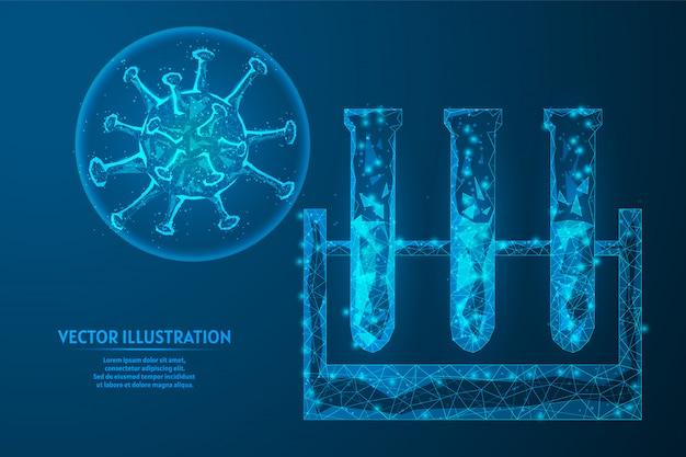 Überprüfen sie die tests auf coronavirus im blut. reagenzglas aus medizinischem glas. covid-19-pandemie mit infektiösem virus. innovative medizinische testtechnologie.