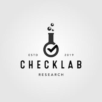 Überprüfen sie die vom labor verifizierte vintage-logo-illustration