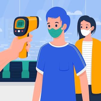 Überprüfung der körpertemperatur in öffentlichen bereichen