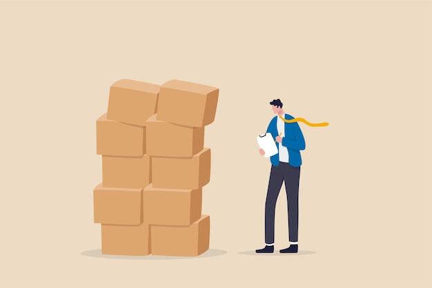 Überprüfung des inventars, qc, qualitätskontrolle, um das produktlieferungskonzept sicherzustellen.