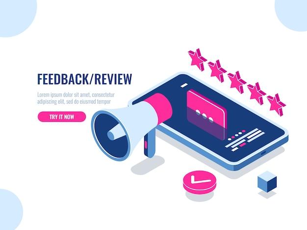 Überprüfung im internet, bewertung und management von inhalten isometrisch, positive bewertung