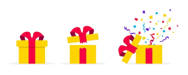 Überraschen sie gelbe geschenkboxen im flachen design. geöffnete geschenkbox mit konfetti. boxen präsentieren. überraschung im karton. vorlagendesign für überraschung, geburtstagsfeier, geschenke, geburtstag, weihnachten