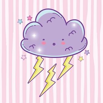 Überraschte flauschige wolke mit donner und sternen