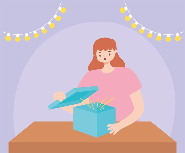 Überraschte frau, die geschenkbox-partyfeier-vektorillustration öffnet