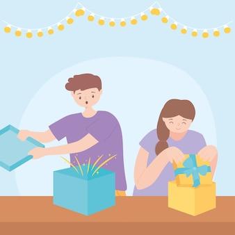 Überraschte jungen und mädchen, die geschenkboxen in der partyfeiervektorillustration öffnen