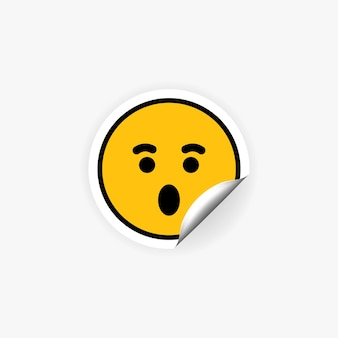 Überraschter emoji-aufkleber. schockierte emotionen.