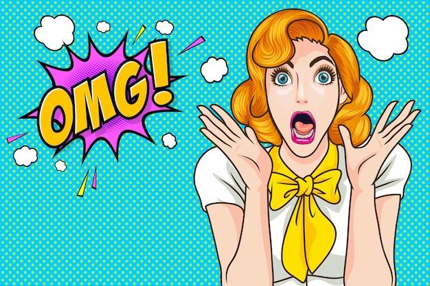 Überraschtes frauengesicht wow mit offenem mund omg pop-art-retro-comic