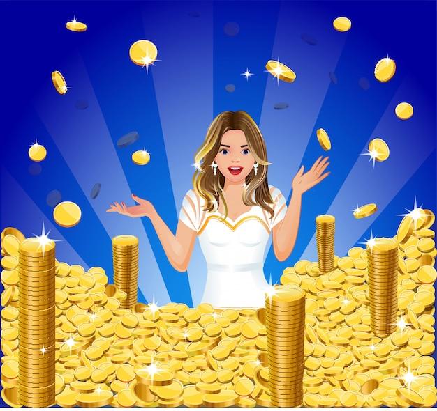 Überraschtes mädchen mit goldmünzenjackpot