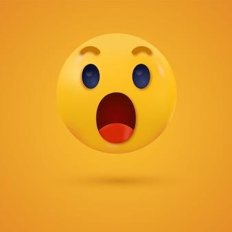 Überraschtes wow-emoji mit offenem mund schockierte emoticon für social-media-reaktionen